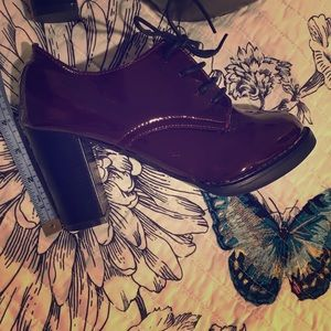 Burgundy, patent leather, heeled, lace up booties